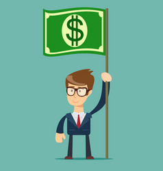 Businessman holding in hand flag with a banknote vector