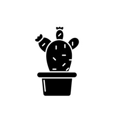 Cactus in a pot black icon sign on vector