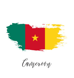 cameroon watercolor national country flag icon vector image