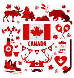 Canada sign and symbol info-graphic elements flat vector