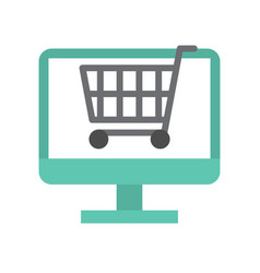 cart on computer screen flat icon shopping online vector image