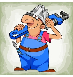 cartoon cheerful man plumber in uniform and hat vector image