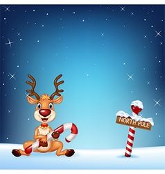 Cartoon deer holding Christmas candy vector image