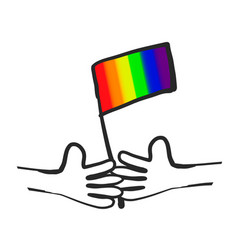 cartoon hands with lgbt flag vector image