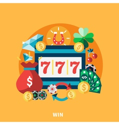 Casino pockie machine round composition vector