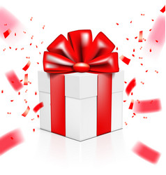 christmas or happy new year red gift box with vector image