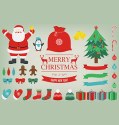 christmas set with decoration elements santa vector image