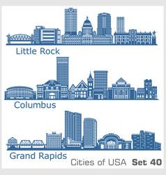 cities usa - grand rapids columbus little vector image