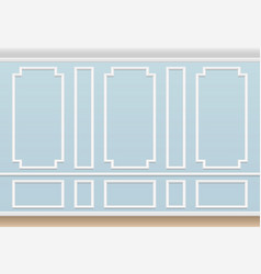 Classic blue wall with moulding panel house vector