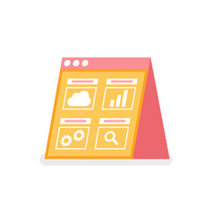 cloud and chart searching and settings app vector image