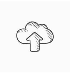Cloud with arrow up sketch icon vector image