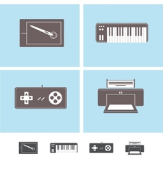 Computer peripheral devices icons vector