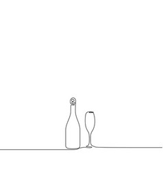 continuous line drawing champagne with a wineglass vector image