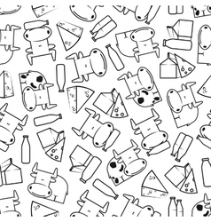 Cute cows with milk and cheese seamless pattern vector