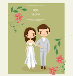 Cute hipster couple for wedding invitations card vector