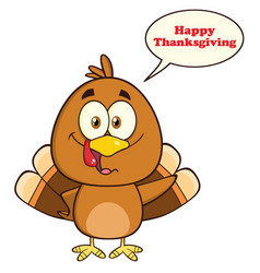 Cute turkey bird cartoon character vector