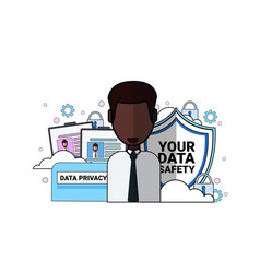 Data safety shield support agent african man vector