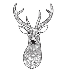 Deer Hand-drawn reindeer with ethnic doodle vector image