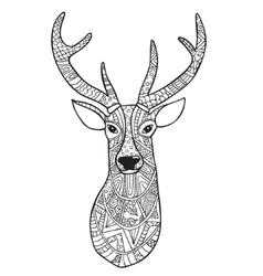 deer hand-drawn reindeer with ethnic doodle vector image