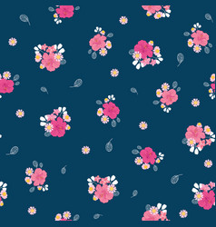 ditsy pink tropical flowers seamless pattern vector image