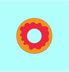 donut with icing on blue turquoise background vector image