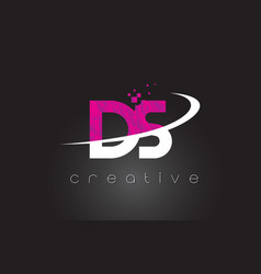 Ds d s creative letters design with white pink vector