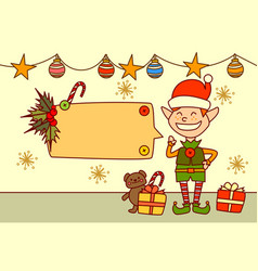 elf showing empty banner for text merry christmas vector image