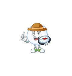 Explorer snowball cartoon character holding a vector