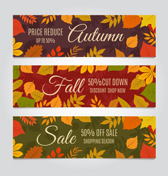 fall sale banners autumn offer and season vector image
