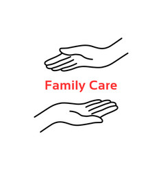 family care logo with thin line hand vector image
