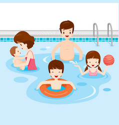 Family relaxing in swimming pool vector