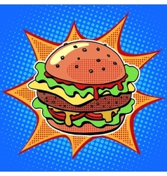 Fast food Burger with sesame meat salad and cheese vector