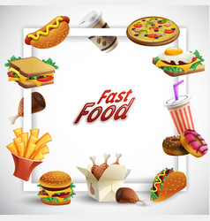 fast food cartoon frame vector image
