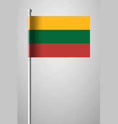 Flag of lithuania national flag on flagpole vector
