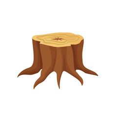 Flat icon of old tree stump with annual vector