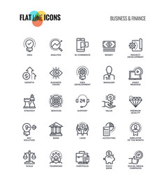 Flat line icons design - business and finance vector