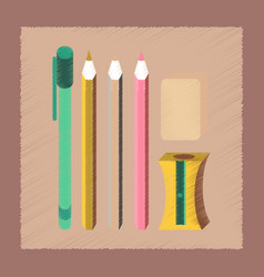 Flat shading style icon pencil eraser pen vector