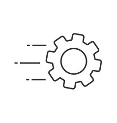 flying cogwheel linear icon vector image