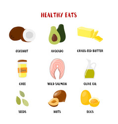food with healthy fats and oils icons set vector image