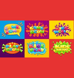 Game room posters fun kids playroom games vector