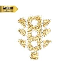 Gold glitter icon of traffic lights vector