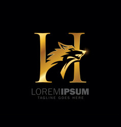 golden wolf initial monogram letter h logo sign vector image