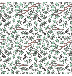 green twigs flat seamless pattern vector image