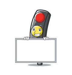 grinning with board traffic light character vector image