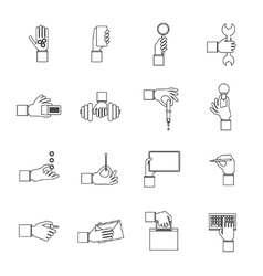 Hand holding objects outline set vector image