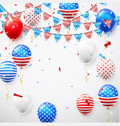 hanging bunting flags for american holidays card vector image