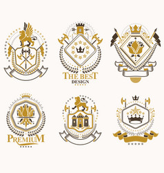 Heraldic signs decorated with vintage elements vector