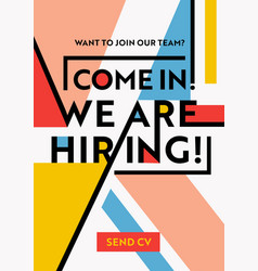 hiring recruitment poster we are hiring typography vector image