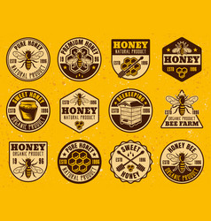 honey colored bright badges stickers emblems vector image