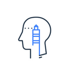 Human head profile and lighthouse psychology vector